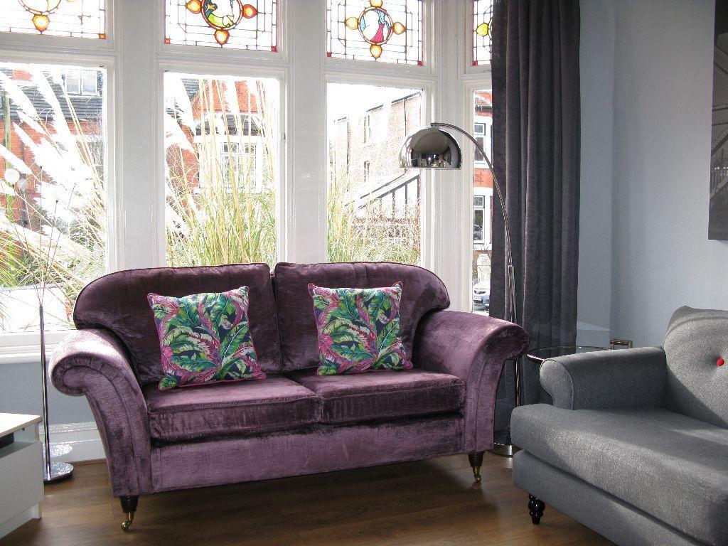 Purple/Lilac LAURA ASHLEY U0027Mortimeru0027 3 Seater Sofa On Castors Crushed Velvet