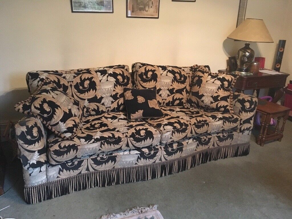 Duresta Diplomat 4 Seater Sofa And Armchair In Corinthian Fabric, Good  Condition