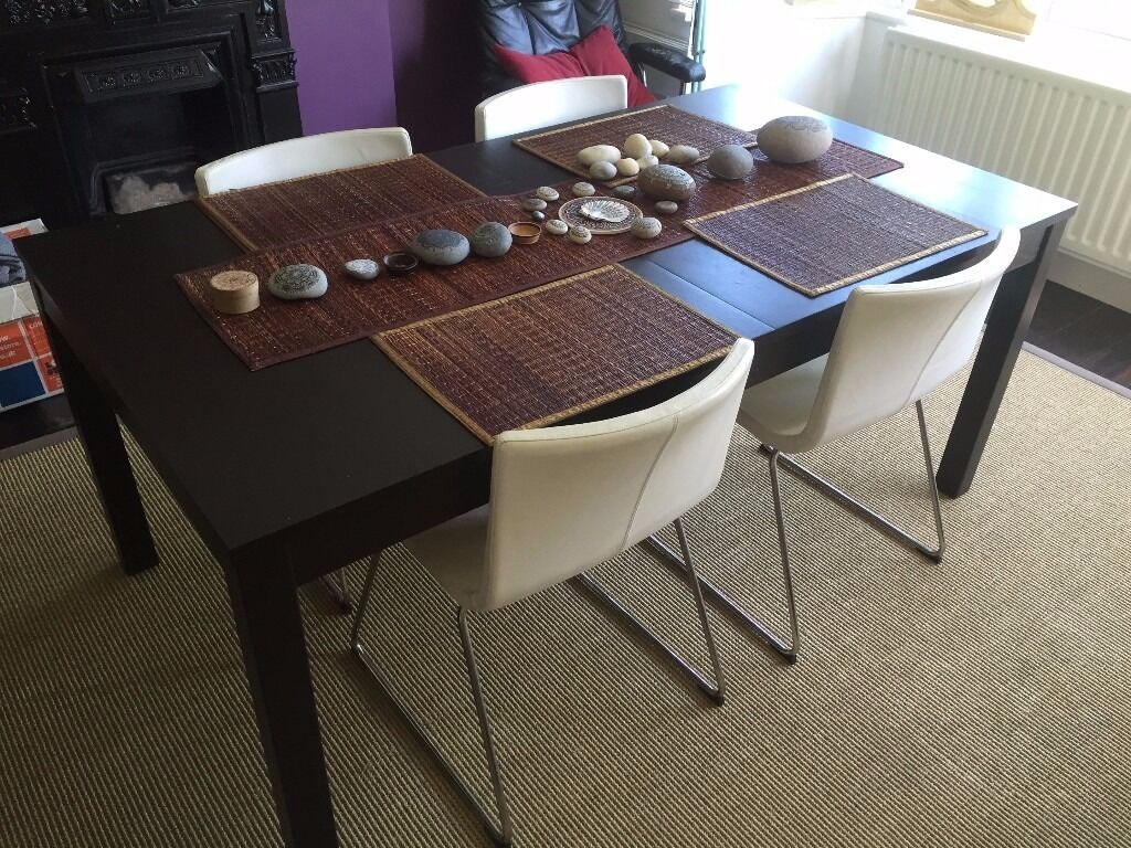 Etonnant Ikea Ebony Bjursta Extendable Table And 4 X White Bernhard Chairs (seats 4    8
