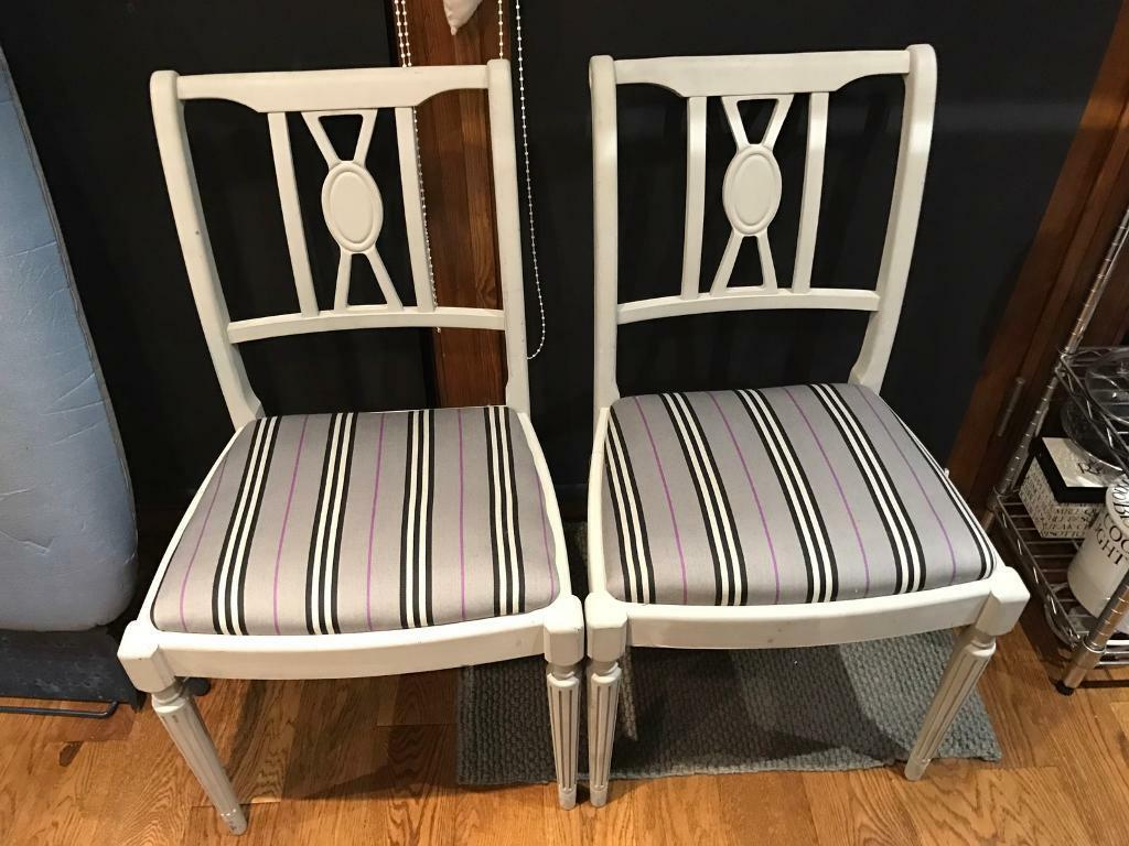 A Pair Of Georgian Style Shabby Chic Grey Painted Chairs