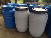 large 200 litre plastic barrels for sale ideal to use as water butts collection