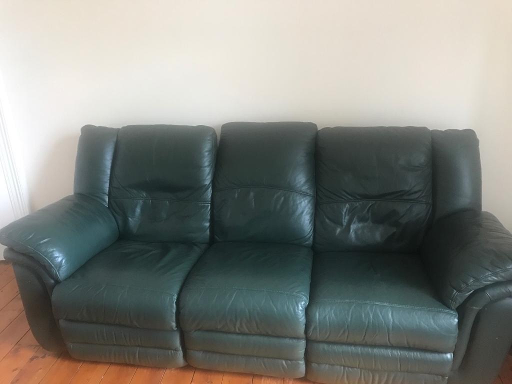 3 Seater Recliner Green Colour Sofa