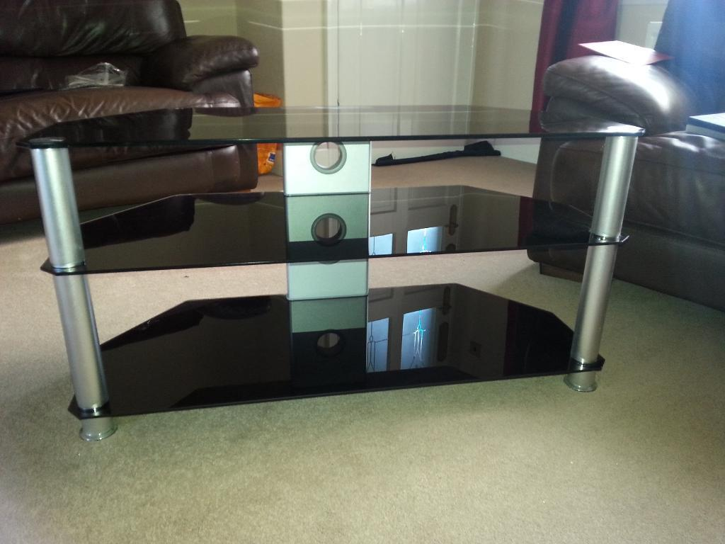 tv stand glass holds upto 50in tv - 50in Tv