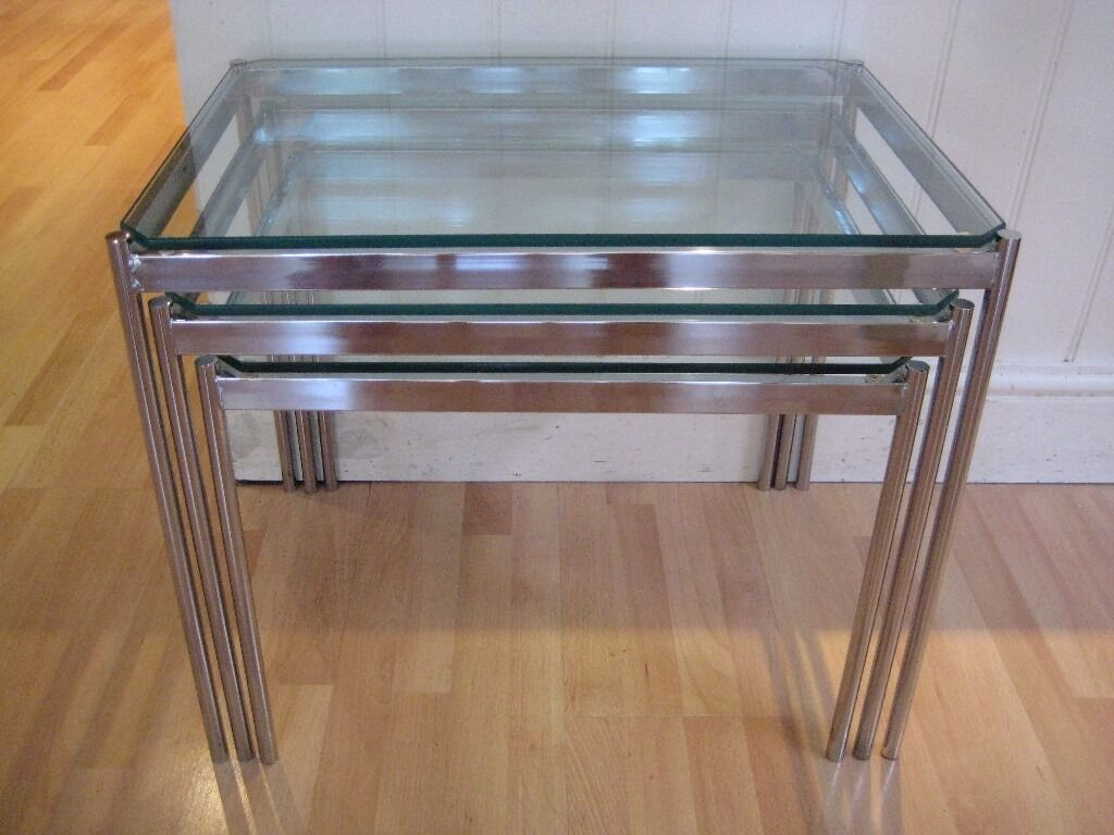 Stylish Set Of Vintage Glass And Chrome Nest Of 3 Side Tables   Excellent  Original Condition