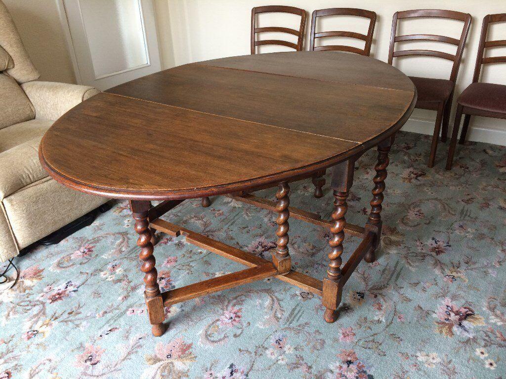Edwardian Solid Oak Barley Twist, Oval Gate Leg Drop Leaf, Dining Table