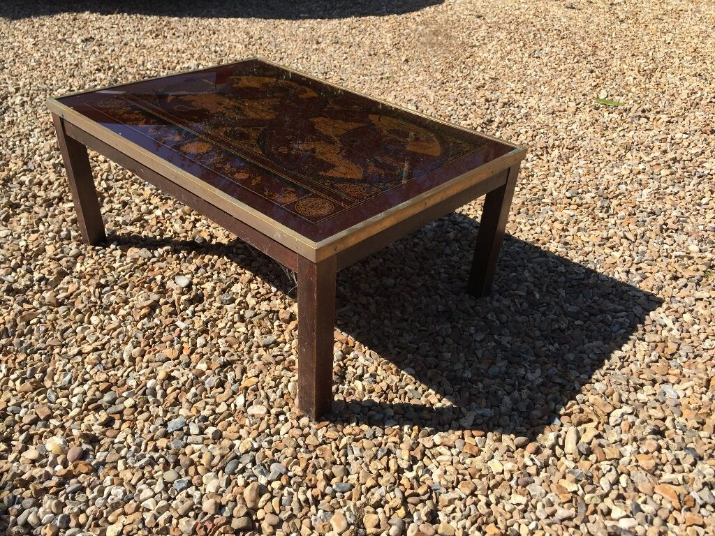 Free Glass Topped Brass Edged Coffee Table With World Map