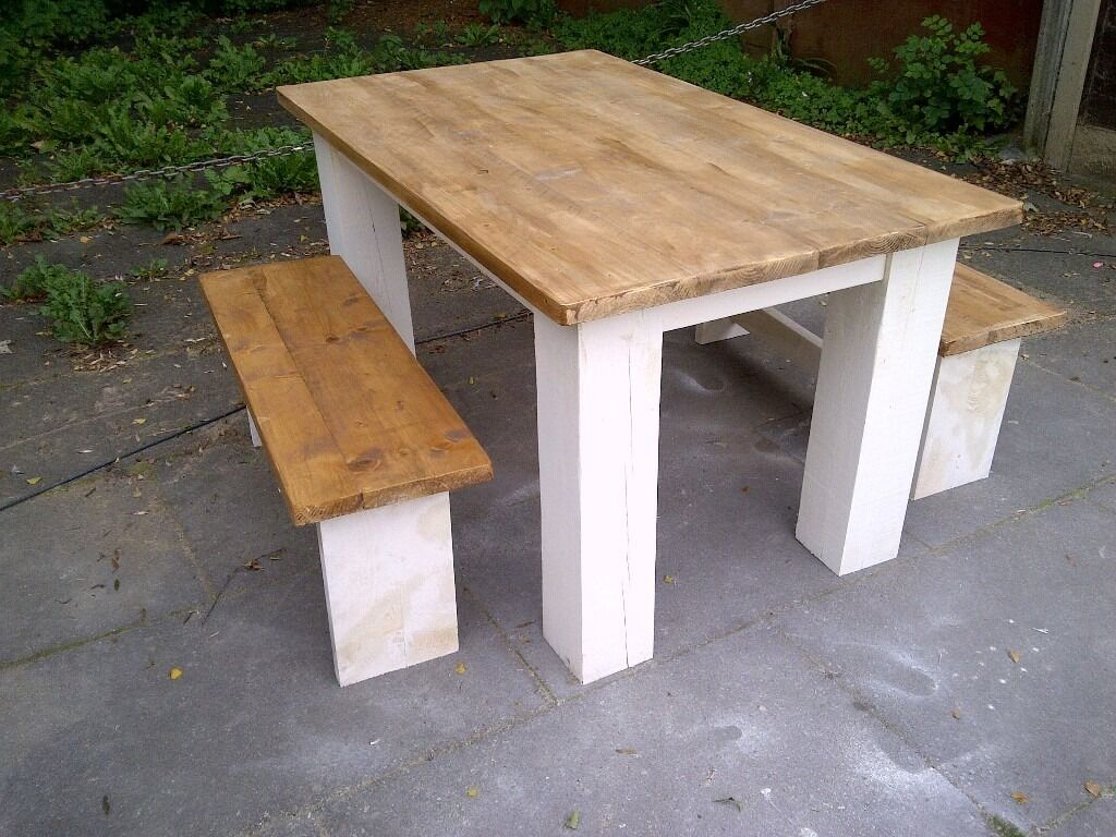 Awesome LARGE HEAVY SHABBY CHIC FARMHOUSE TABLE 2 BENCHES SOLID TABLE THICK LEGS