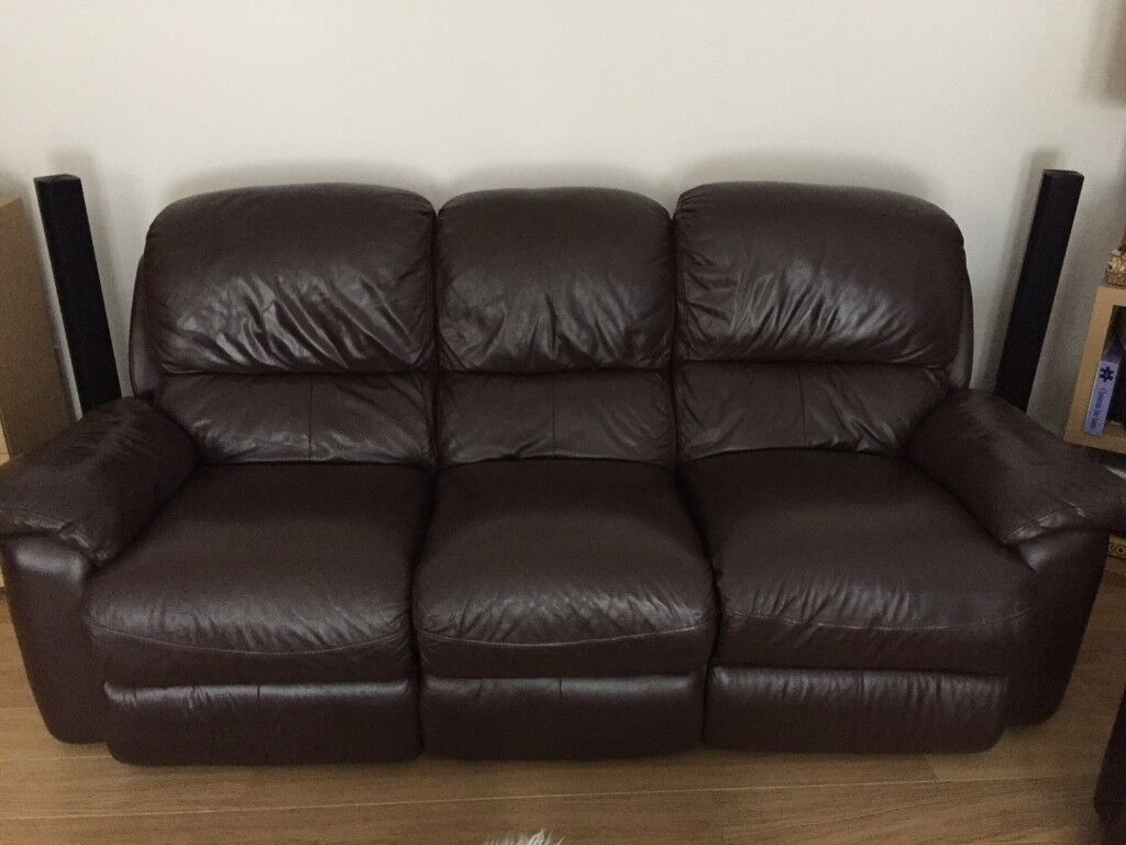 3 Seater Electric Recliner + 2 Seater Manual Recliner Sofas Dark Brown  Leather