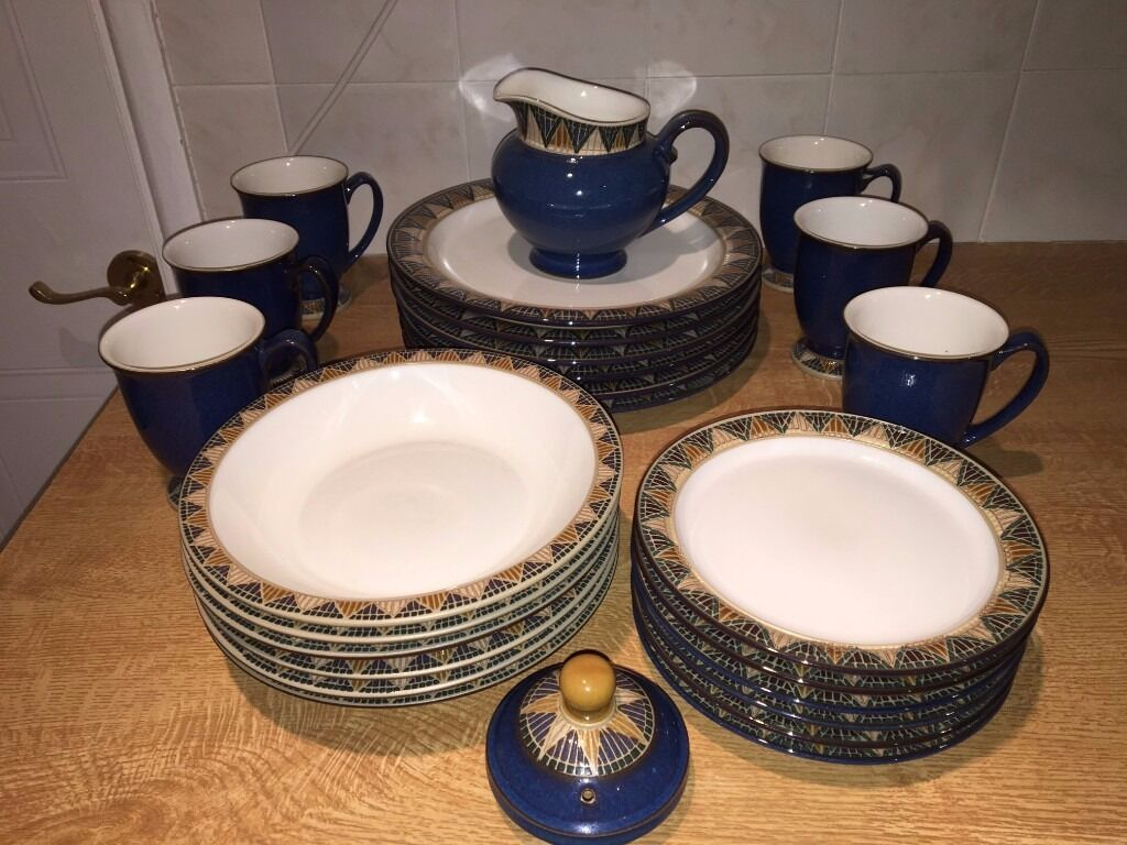 Denby Boston Spa u2013 Meridian Dark Blue Abstract accent range to Boston with decorated edges & Denby Boston Spa u2013 Meridian Dark Blue Abstract accent range to ...