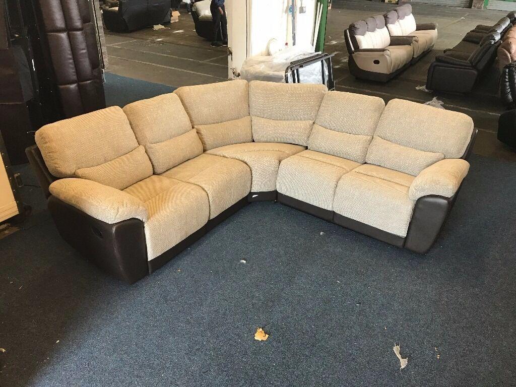 littlewoods santori beige brown recliner corner sofa half leather fabric 56 seater 8 x