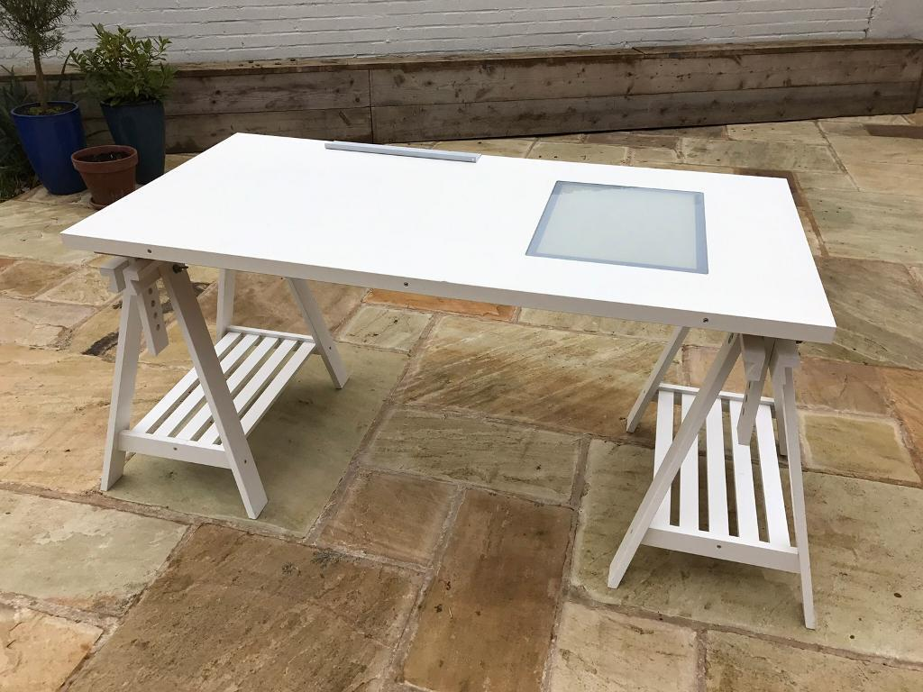 Beautiful Desk / Drawing Table (Ikea Vika Blecket) And White Artur / Finnvard  Trestles Legs
