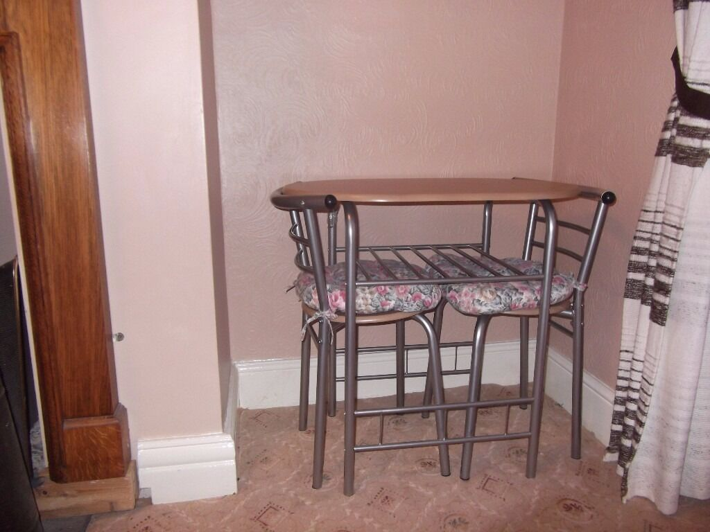 Compact Dining Table U0026 Two Chairs C/w Cushions
