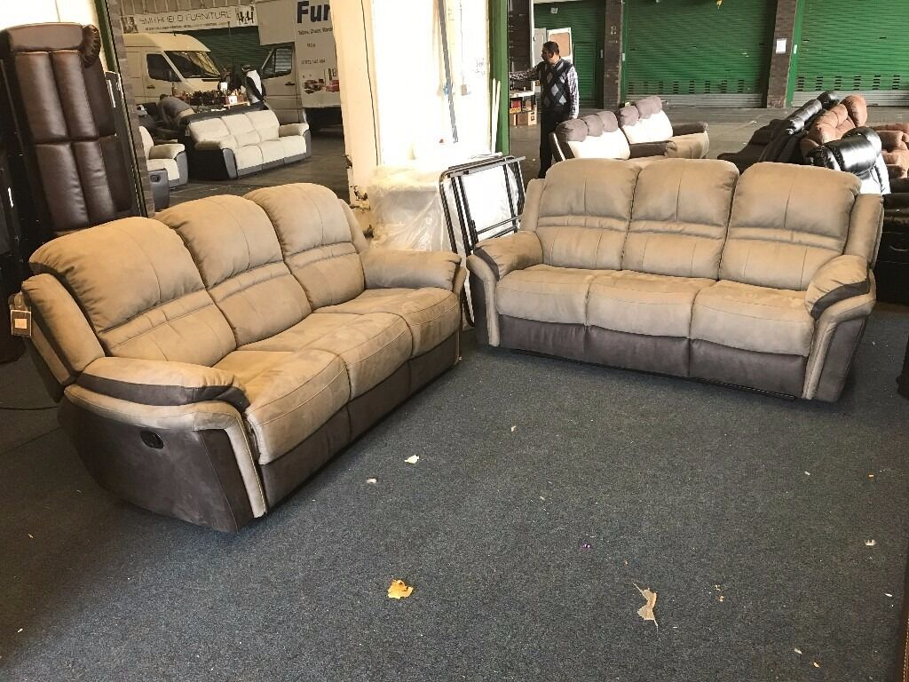 littlewoods petra charcoal grey suede type fabric 3 and 2 seater recliner sofa set three plus