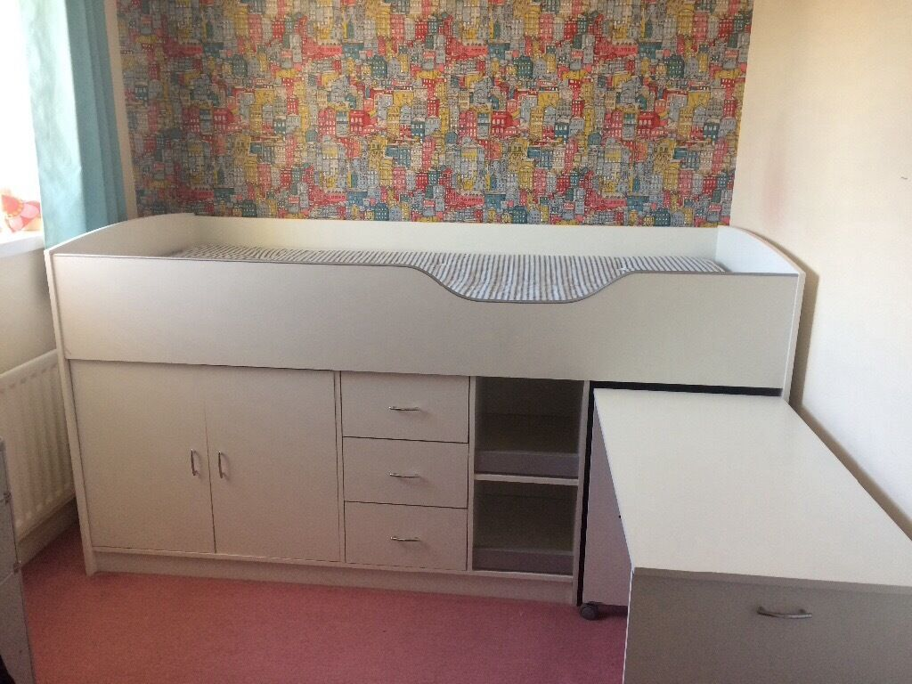 cabin bed midi good condition age 6 small double cupboard