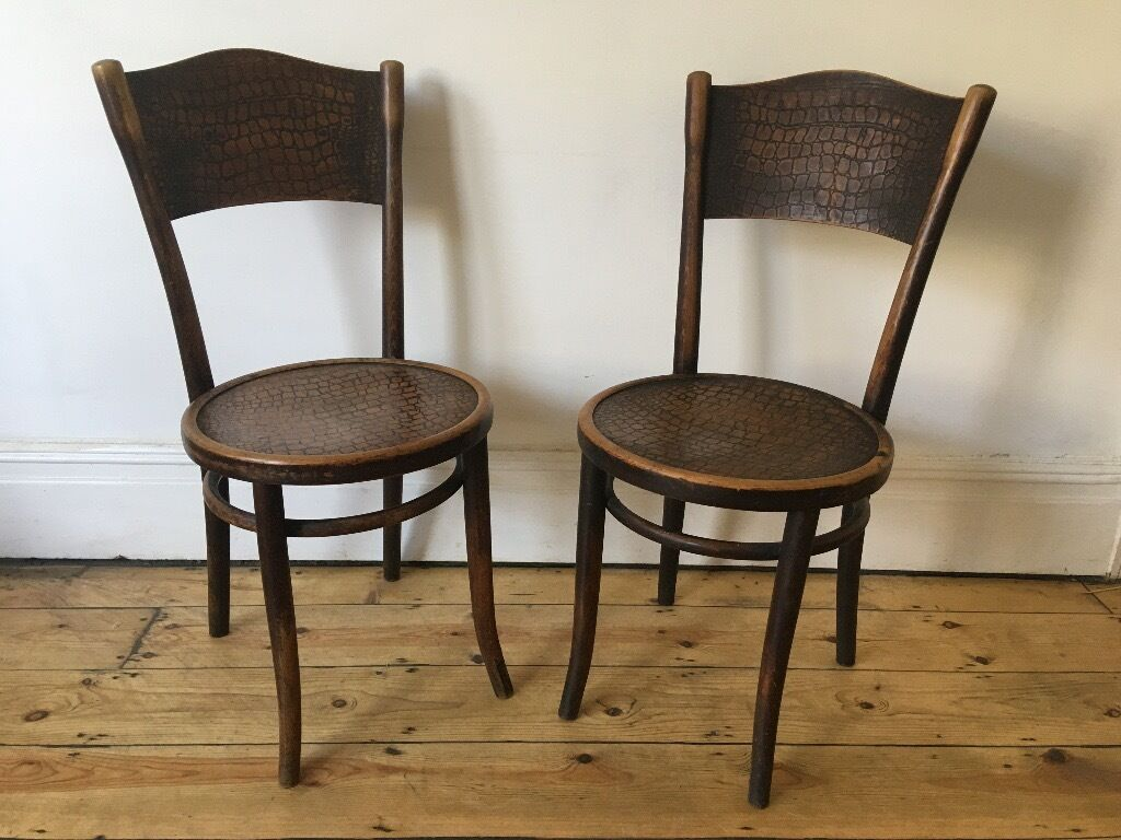 Vintage thonet style cafe chairs with stenciled seats - Vintage Thonet Bentwood Cafe Bistro Dining Chairs Poland Faux Croc