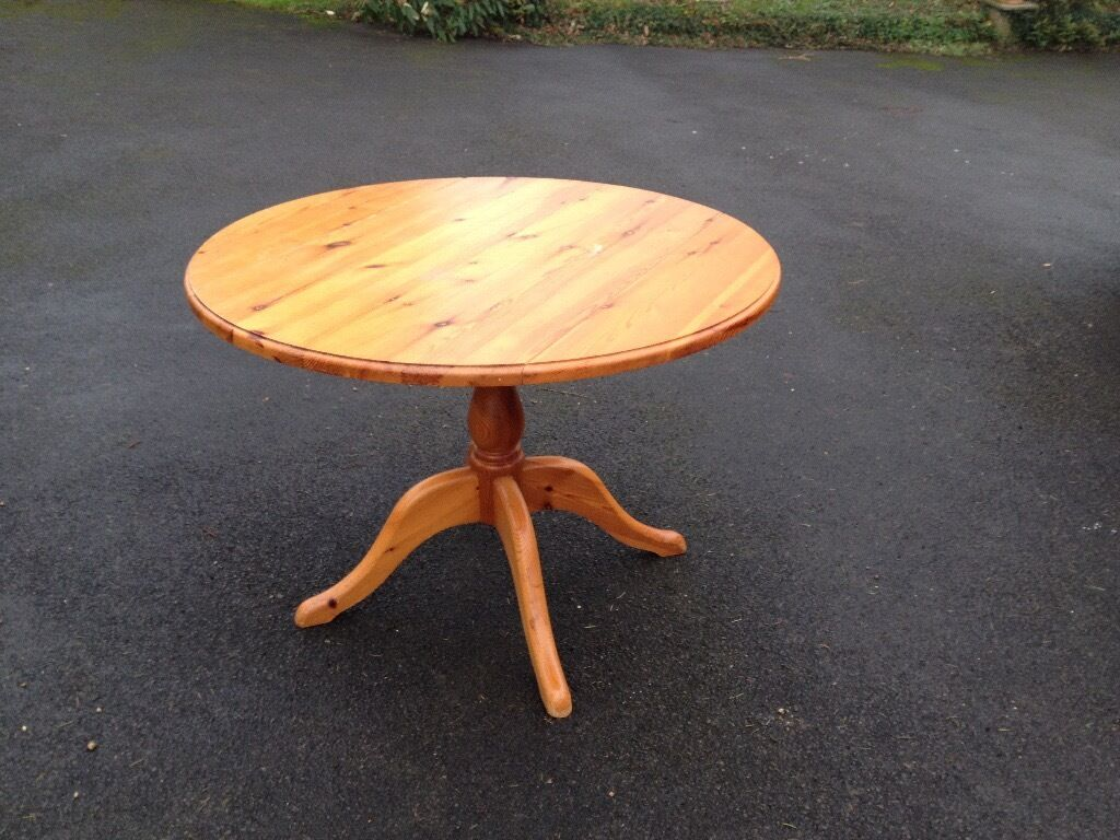 Sold Pine Round Table With Fold Down Sides