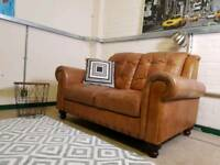 Chesterfield Style 2 Seater Sofa In Distressed Tan Leather