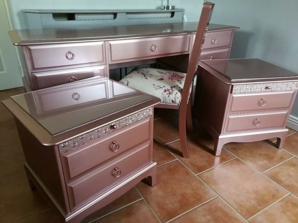 Rose Gold Metallic Stag Dressing Table And Matching Bedside Tables And  Chair Can Deliver