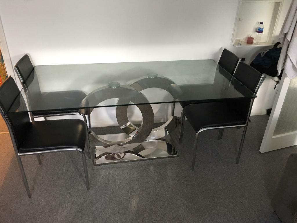 Coco Chanel Modern Glass Top Dining Table