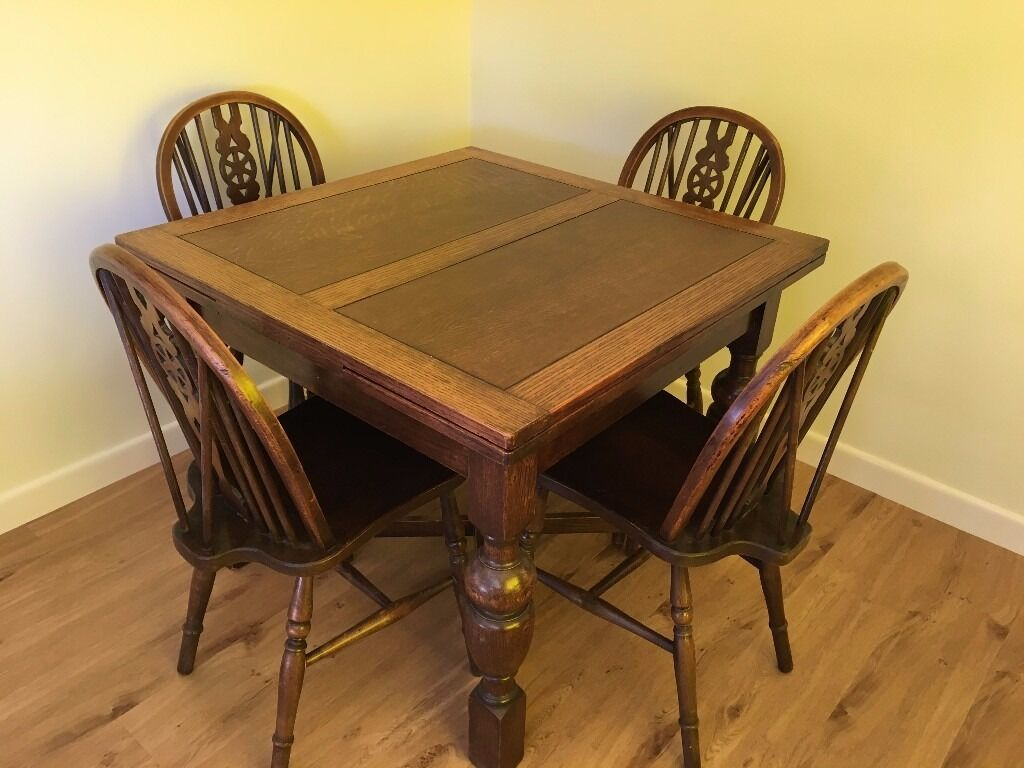 1940 u0027s oak dining table with 4 wheel back chairs  could be painted for chic look 1940 u0027s oak dining table with 4 wheel back chairs  could be painted      rh   gumtree com