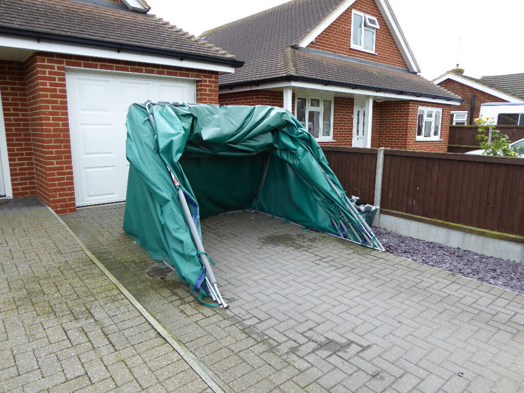 Perambulator Folding Portable Garage,galvanised Tubular Construction Heavy  Duty Poly Cover16ft X 7ft