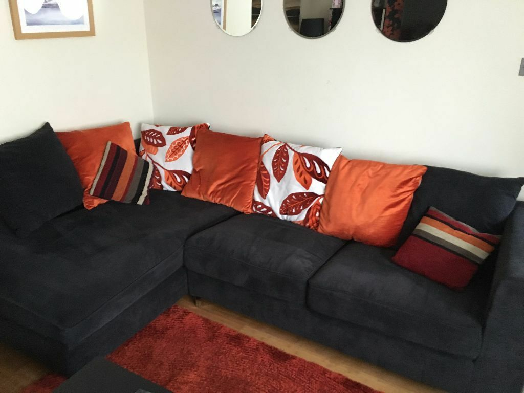 Bon Black/Orange 3 Seat Corner Sofa (Mandarin Range From CSL / Sofaworks)