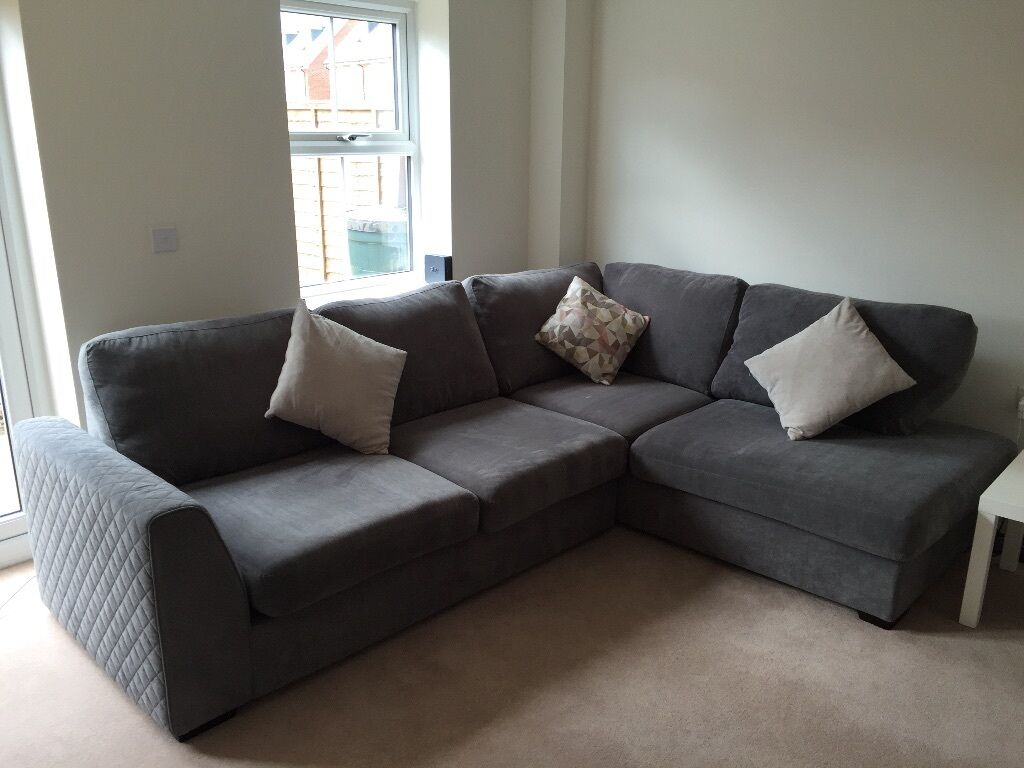 DFS Corner Sofa   Left Hand Facing Open End   9 Months Old   Graphite Grey