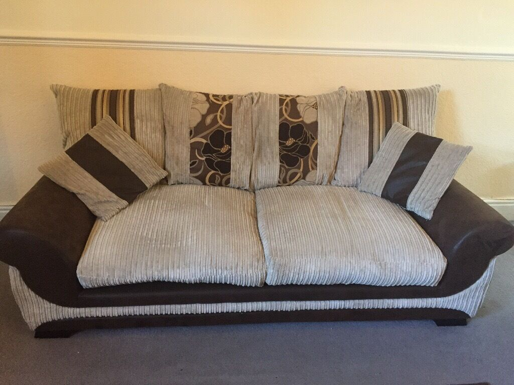 Scs Jumbo Cord Cream Sofa With Brown And Gold Patterned And Striped Detail
