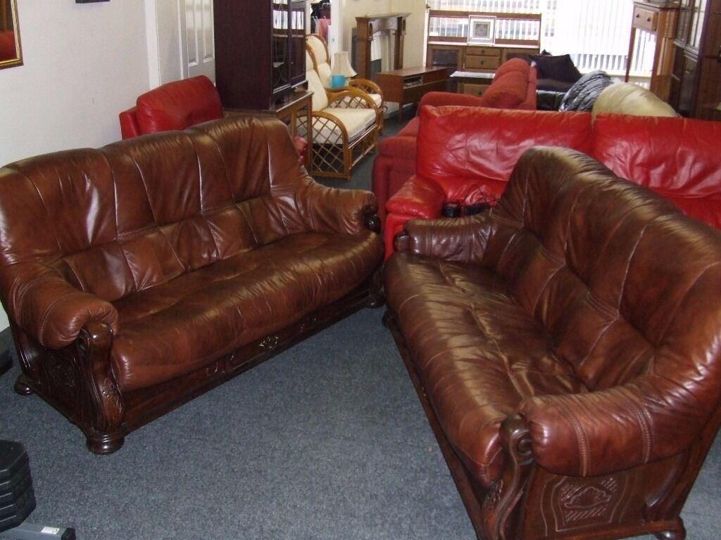 Brown Leather Sofas With Wood Frame And Drawer