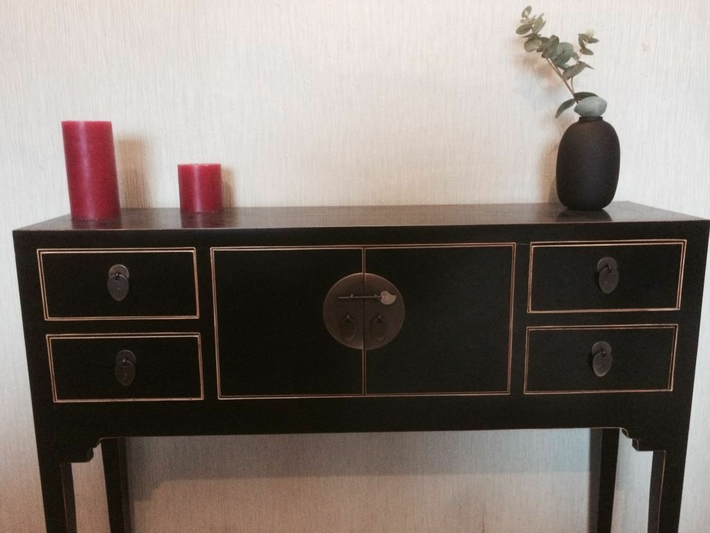 John Lewis Vintage Style Suri Chinese Black Console Table