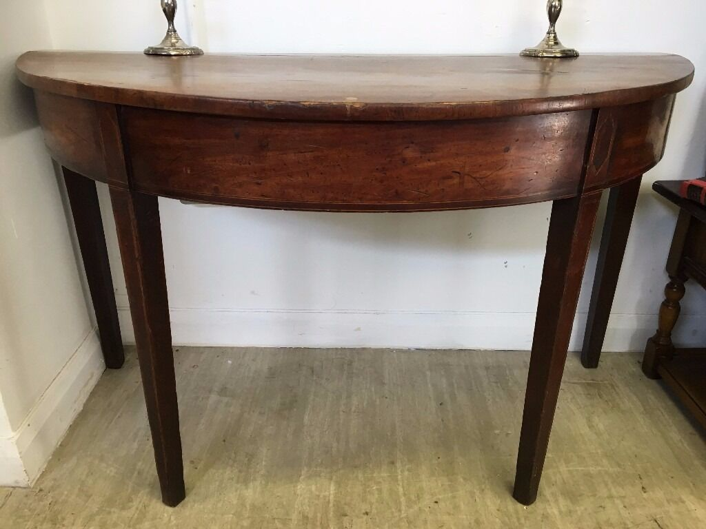 Large Edwardian Half Moon Table   Vintage / Antique Hall Table   Side / End  Table
