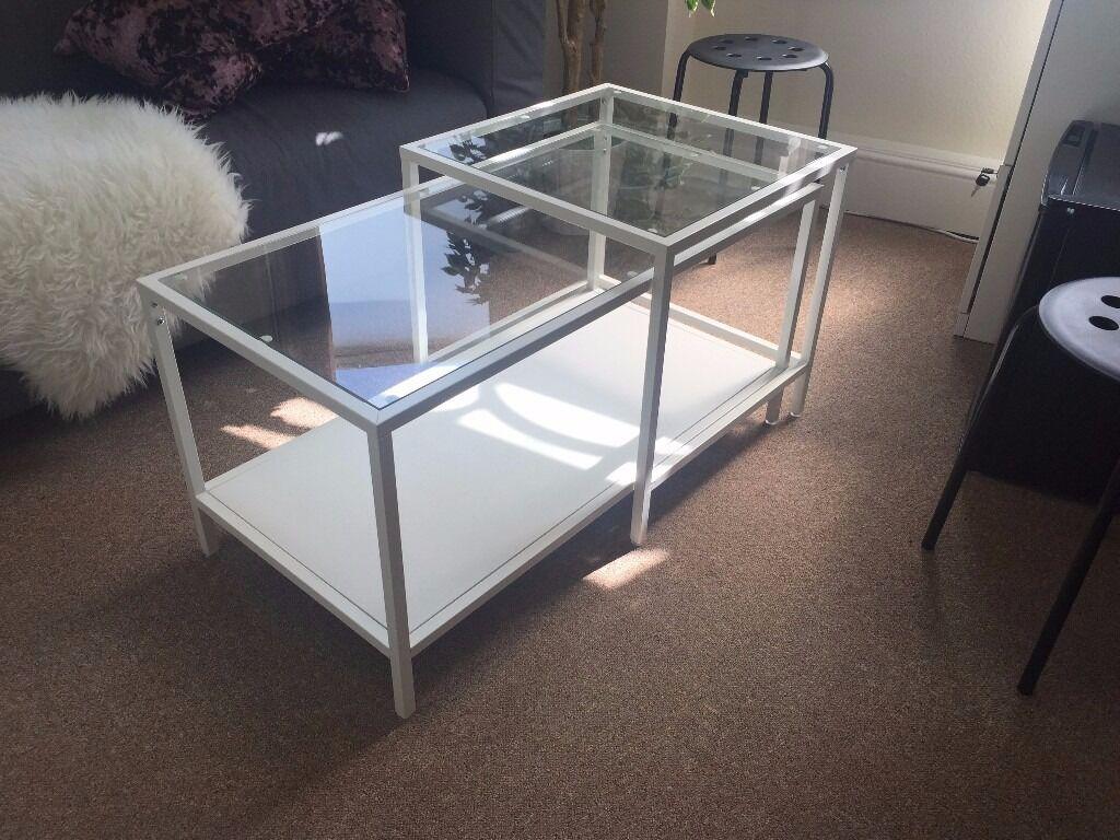 IKEA Vittsjo Nesting Coffee Table In White Metal U0026 Glass.