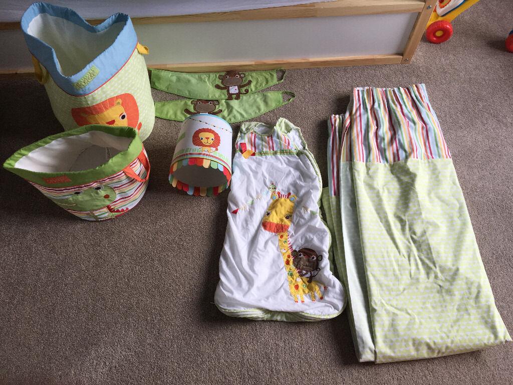 Next Jungle Brights Safari Nursery Curtains, Light Shade, Cot Bumper Etc.