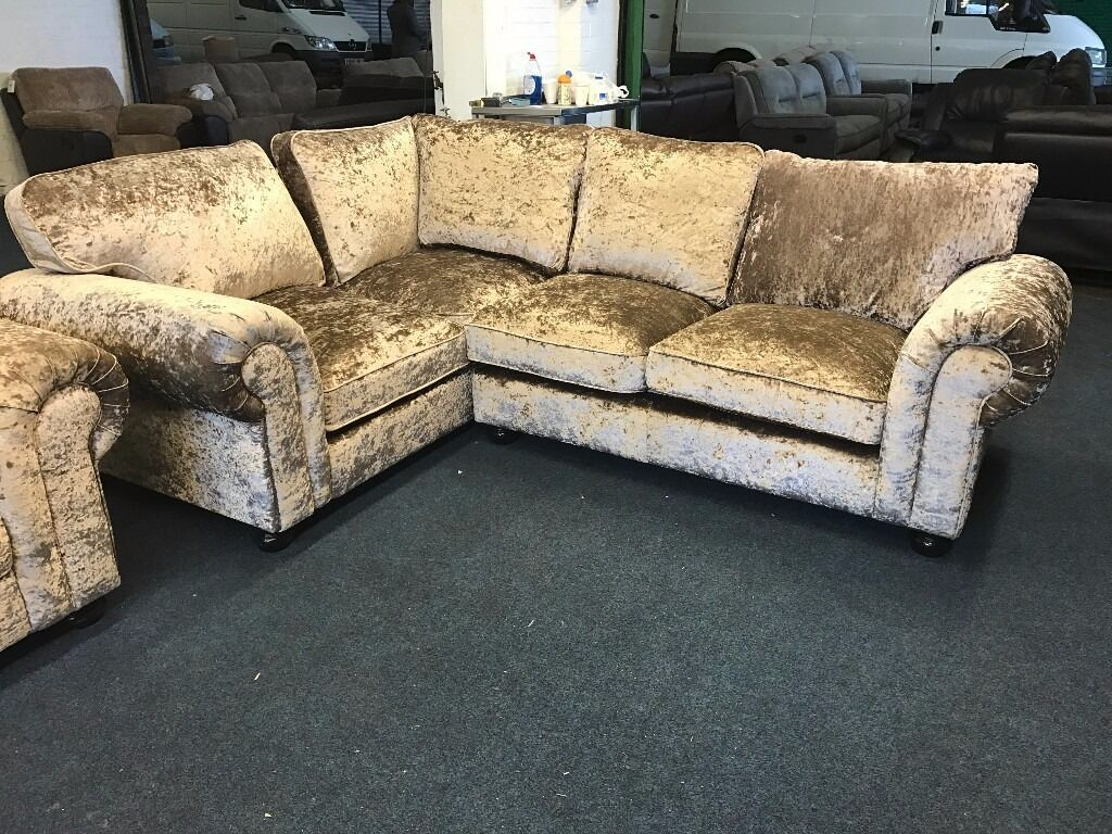 littlewoods lawrence llewellyn scarpa gold luxury crushed velvet corner sofa and armchair brown mink