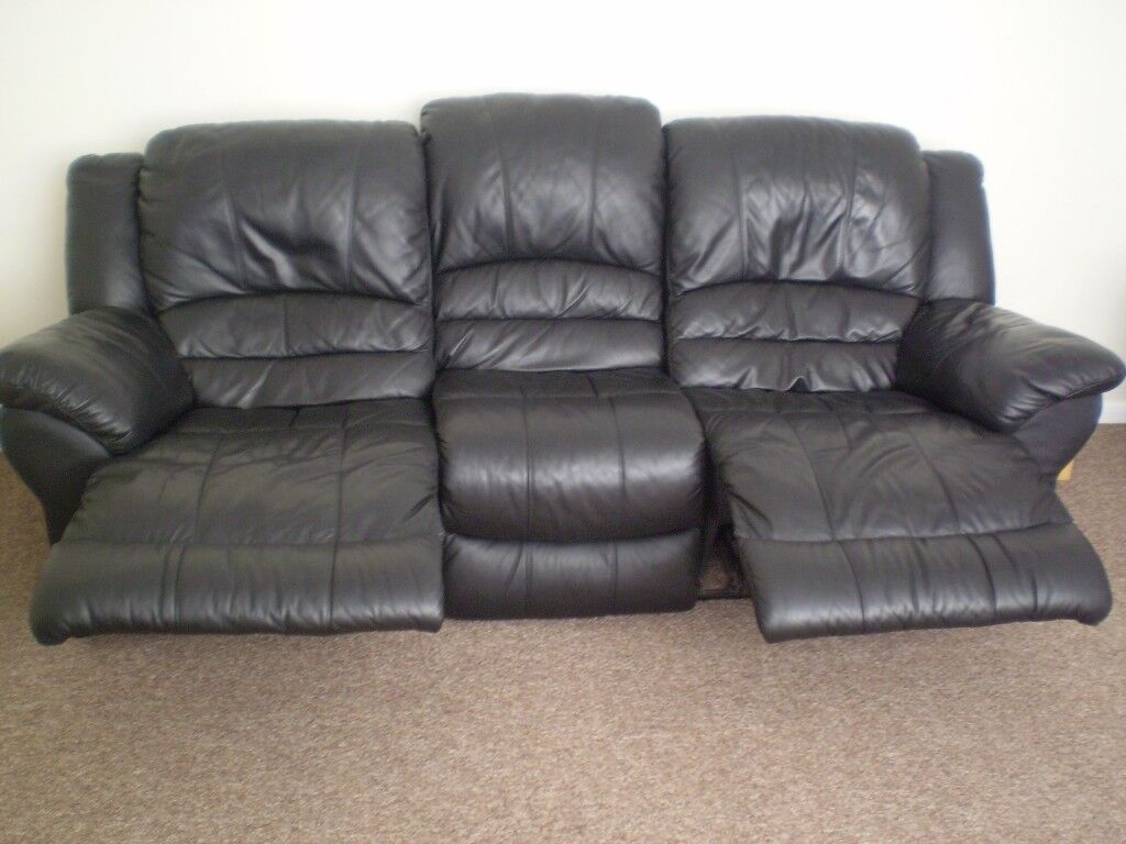 Black Leather 3 Seater Recliner Sofa And Recliner Armchair