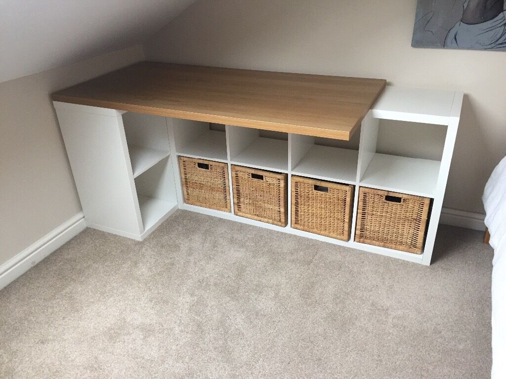 Ikea Desk Table Top With White Storage Units