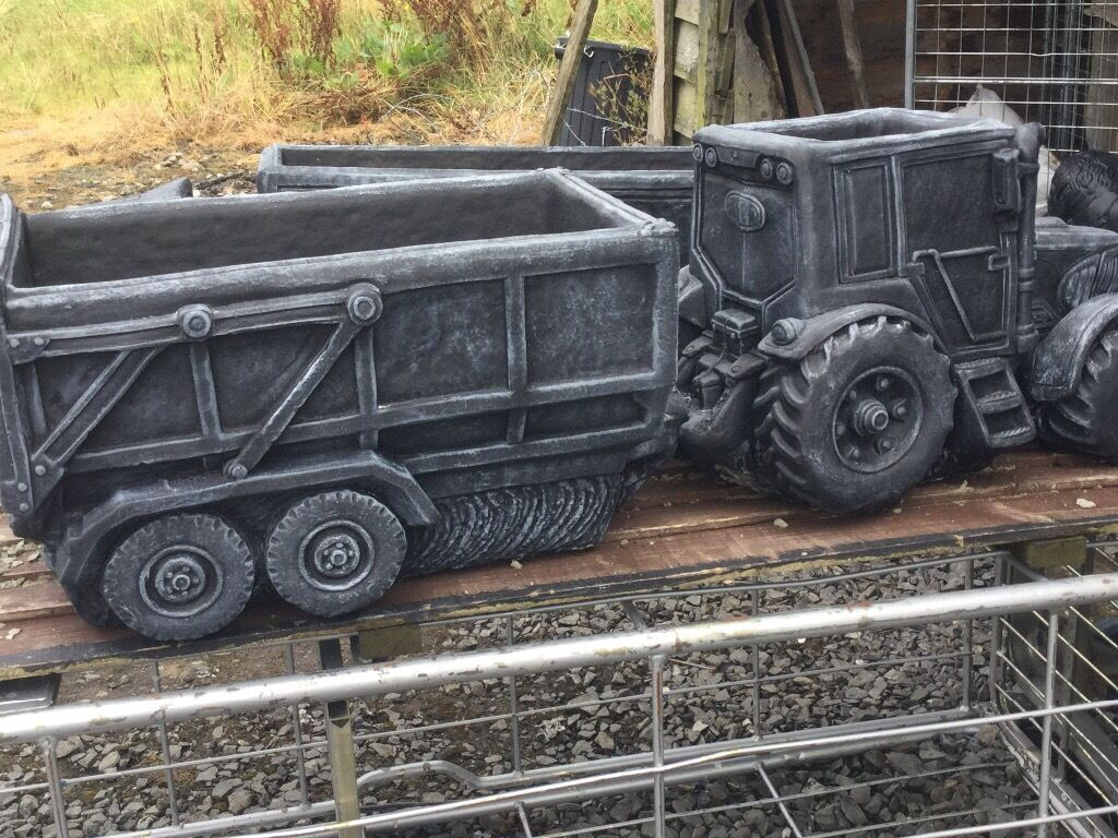 Tractors And Trailers Scania Lorrys Landrover Pickups Garden Ornaments  Flower Pots Grave Planters
