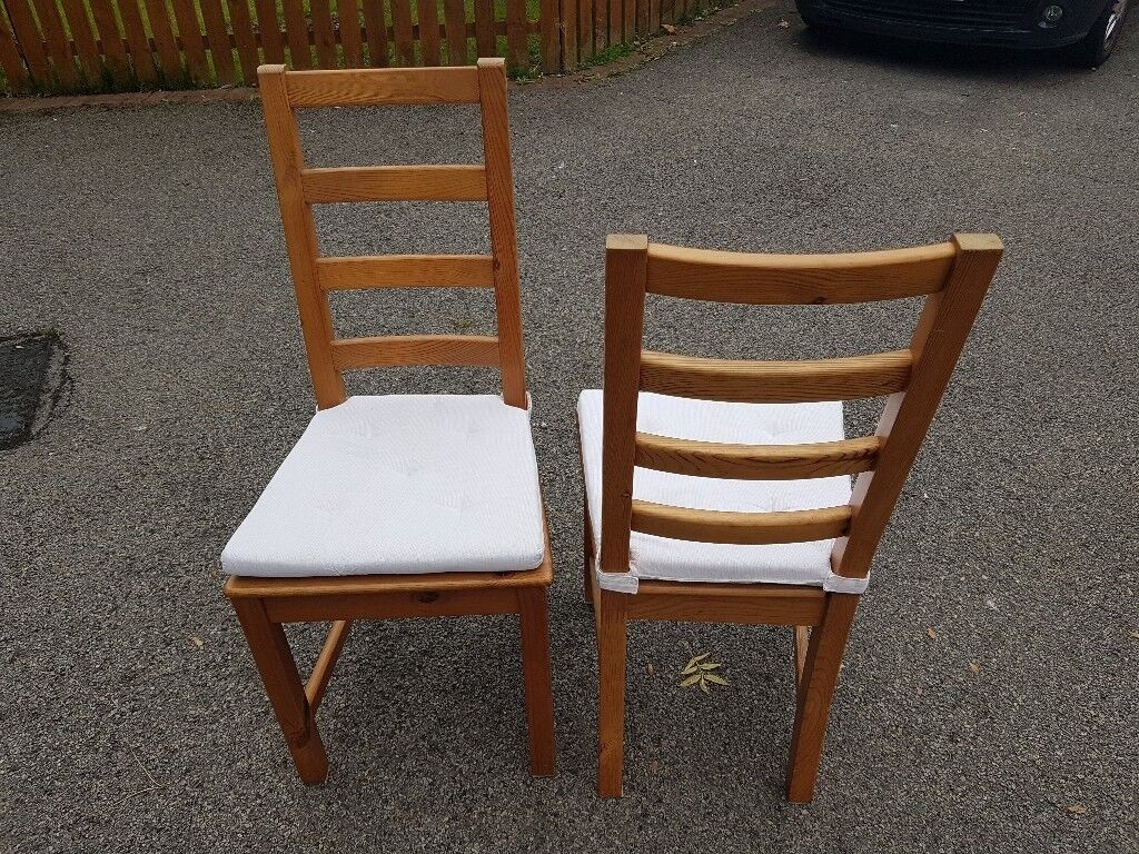 4 Ikea Solid Wood High Ladder Back Chairs FREE DELIVERY 914