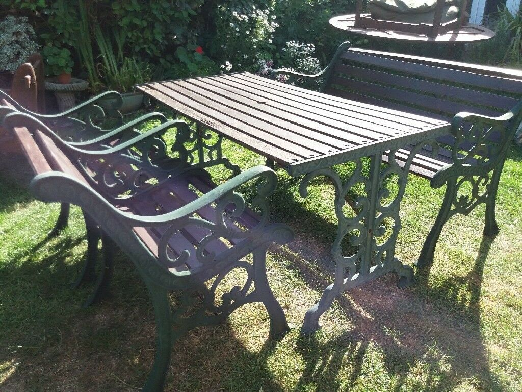 Large Cast Iron Garden Table With Bench And Chairs Chairs Inc Seat Pads