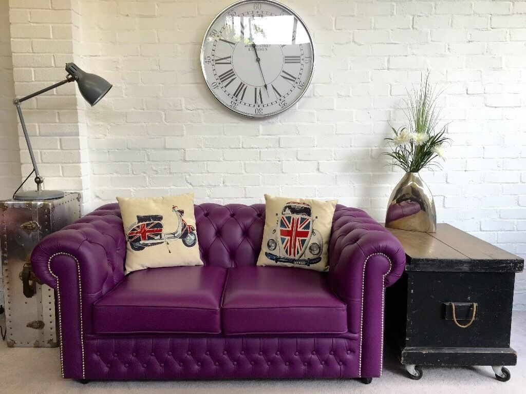 Unusual Purple Chesterfield Sofa . SAXON. As New. Can Deliver