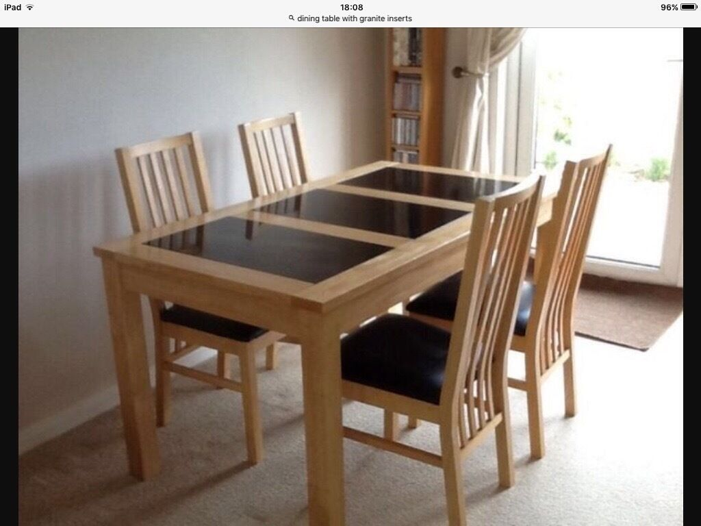 Merveilleux Light Oak Dining Table With Granite Inserts