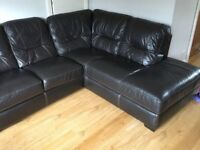 Corner Real Leather Sofa And 2 Seater Excellent Condition Chair Suite
