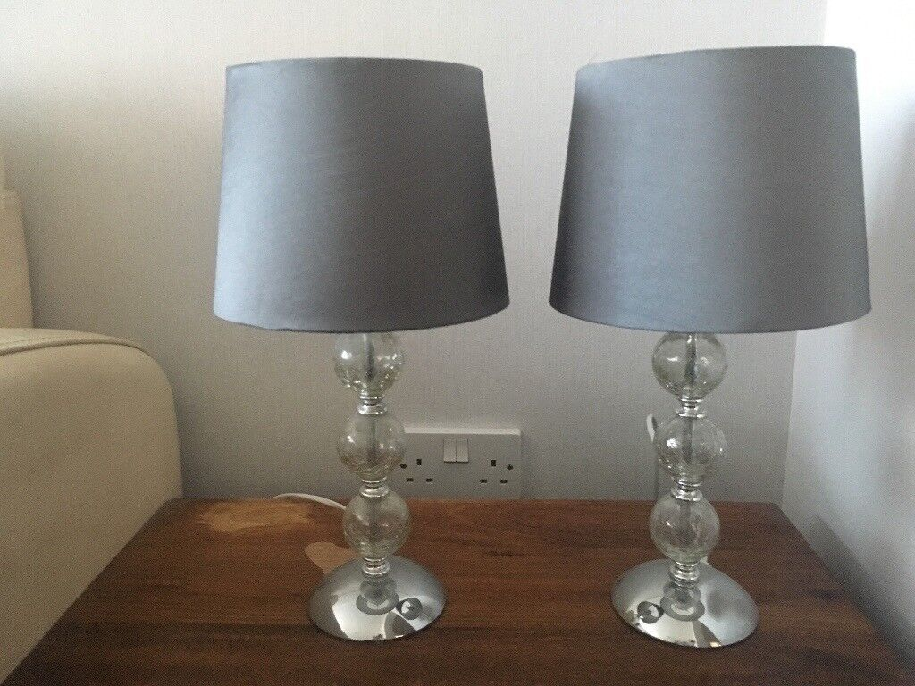 Set Of Two Table Lamps, Crackle Glass, Silver/grey Lampshade