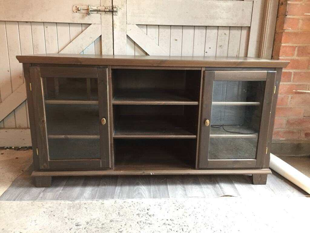 Dark wooden TV/electronics/storage unit with two glass fronted doors & Dark wooden TV/electronics/storage unit with two glass fronted doors ...