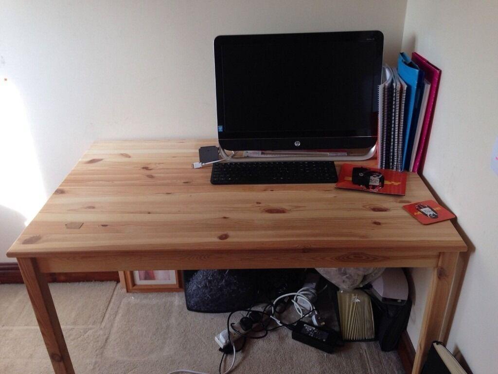 Ikea Ingo Solid Pine Wooden Table/Desk 120x75 Cm