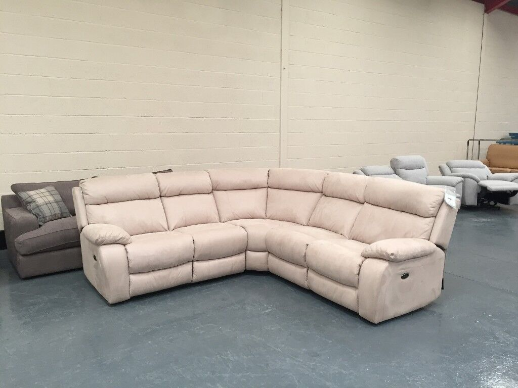 Ex-display Moreno light cream fabric electric recliner corner sofa : recliner corner sofas - islam-shia.org