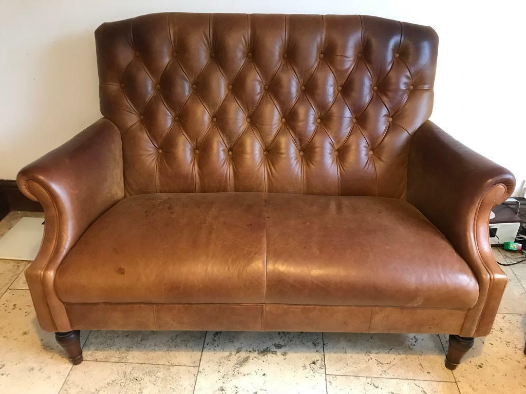 Laura Ashley Lancaster Leather Sofa 2 Seater