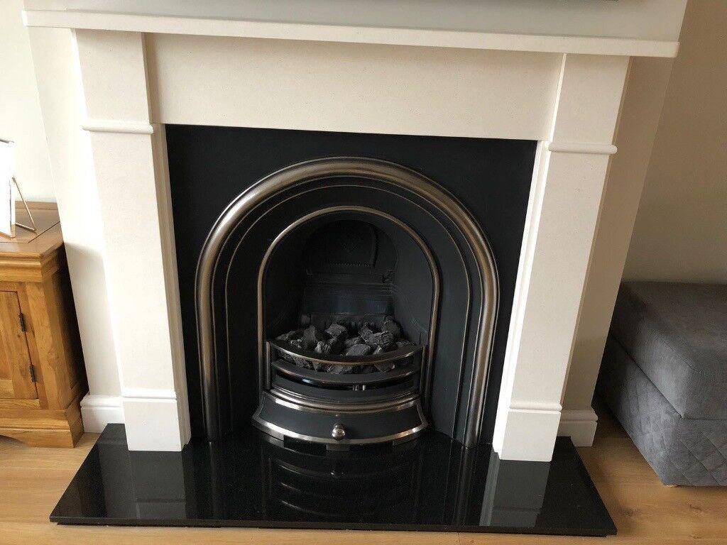 Gas Cast Iron Fireplace, Limestone Mantel Piece, Granite Back Plate U0026 Hearth