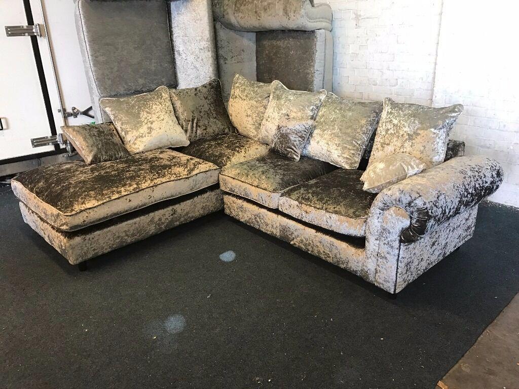 littlewoods silver crushed velvet l shape corner sofa one arm chaise open end left right pillow