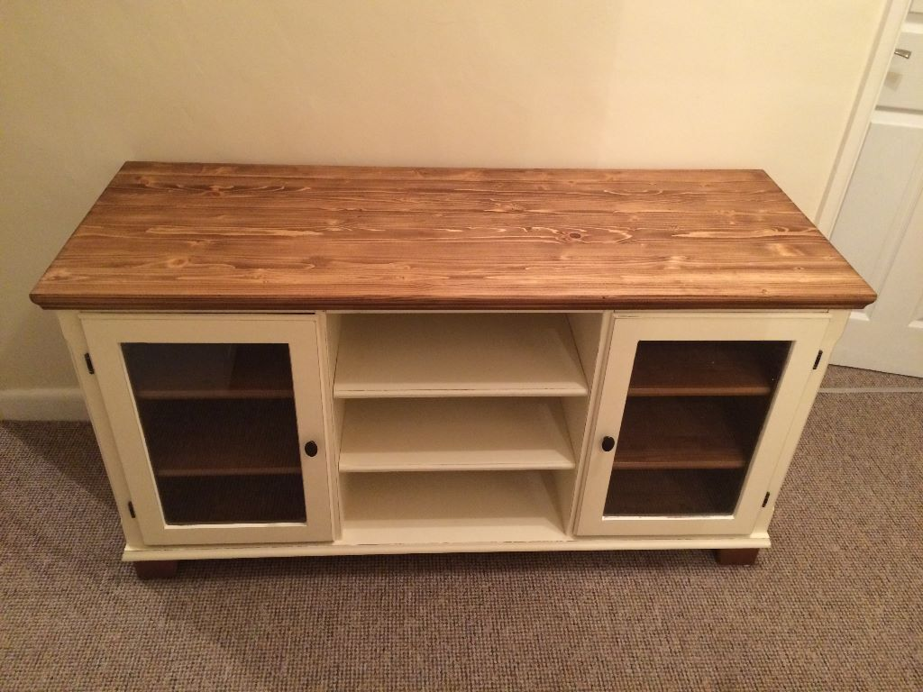Charmant Wooden TV Cabinet Newly Refurbished Shabby Chic All Real Solid Wood/Glass